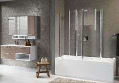 Novellini Aurora 4 - Two Folding Section Bath Screen Clear Safety Glass Bath Screen Height: Product Codes - Novellini Aurora 4 70 x Two Folding Section Bath Screen - Novellini Aurora 4 75 x Two Folding Section Bath Bath Screens, Safety Glass, Shower Enclosure, Clear Glass, Aurora, Chrome, Bathroom, Washroom, Stall Shower