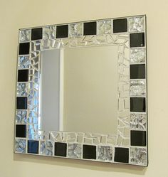 Finished in off white grout with black edge band. Size x Centre mirror x Hanging to back. Mostly Parcelforce U. Broken Mirror Art, Mosaic Tile Mirror, Mirror Art, Mirror Wall Decor, Mirror Design Wall, Glass Furniture, Glass Decor, Black Mosaic Tile, Mosaic Mirror