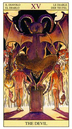 O Diabo, Arcano Tarot Of New Vision por Pietro Alligo ilustrado por Raul y Gianluca Cestaro, baseado no Tarot de Rider-Waite. Wicca, Magick, Witchcraft, Baphomet, Tarot Rider Waite, Divine Tarot, Tarot Major Arcana, Tarot Card Meanings, Occult Art
