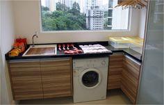 Ideias para ambientes pequenos: inspirações para esconder a lavadora de roupas.