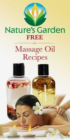 Free natural massage oil recipes that you can make yourself by Natures Garden. Herb infused massage oil recipes will soften and heal your skin. Massage Tips, Massage Benefits, Massage Room, Massage Techniques, Massage Therapy, Face Massage, Diy Massage Oils, Massage Chair, Health Benefits