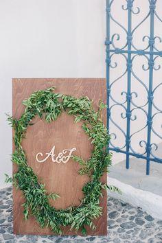 A romantic wedding in Santorini Island Santorini Island, Santorini Wedding, White Ribbon, Romantic, Events, Wreaths, Boutique, Home Decor, Decoration Home