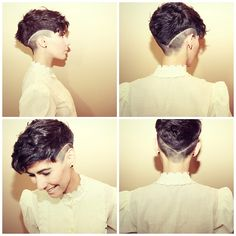 angryseawitch: kropotkitten: goshorter: November 2013 haircut (by V_a_n_e_s_s_a) :o someone do this to my hairs. though they might be too curly for it to look good on me. no, weird undercuts look best with curly hair. Pixie Cut With Undercut, Undercut Pixie, Undercut Hairstyle, Curly Hair Styles, Natural Hair Styles, Hair Tattoos, Shaved Hair, Shaved Pixie, Buzzed Pixie