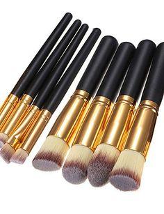 Usw 8PCs Kabuki Make up Brush Foundation Blending Blush Eyeliner Face Powder Brush Makeup Brush Set  black ** Want to know more, click on the image.