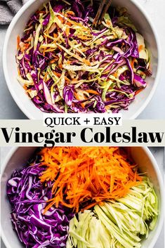Vinegar Coleslaw is a super simple side dish recipe made without mayonnaise. It's tangy, delicious and crunchy.// apple cider // sweet // dressing // no sugar // recipe easy // recipe simple // cabbage