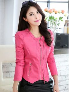 CW00662 Round neck jacket spring and autumn leather coat for women