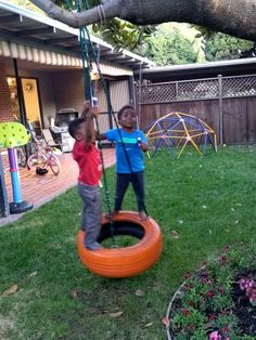The boys figured out how to swing themselves on a tire swing Tire Playground, Outdoor Playground, Playground For Kids, Tyre Ideas For Kids, Diy For Kids, Tires Ideas, Kids Outdoor Play, Backyard For Kids, Diy Tire Swing