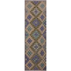 petite Kilim Charlett Gray/Blue Hand-Woven Wool Rug x - 3 ft. 0 in. X 10 ft. 2 in.