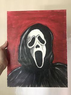 Halloween Canvas Paintings, Scary Paintings, Fall Canvas Painting, Simple Canvas Paintings, Easy Canvas Art, Mini Canvas Art, Halloween Painting, Halloween Art, Diy Canvas
