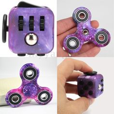 Purple Galaxy Hand Fidget Spinner + Cube Anxiety Stress Relief Focus Adults Set