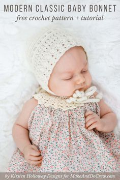 Classic Crochet Baby Bonnet – Free Pattern by Kirsten Holloway Designs Classic Crochet Baby Bonnet – Free Pattern by Kirsten Holloway Designs,Crochet Hats + Headbands This vintage-inspired, classic crochet baby bonnet pattern will quickly. Baby Bonnet Pattern Free, Crochet Baby Bonnet, Crochet Baby Hat Patterns, Crochet Bebe, Baby Girl Crochet, Crochet Baby Clothes, Baby Patterns, Free Crochet, Newborn Crochet Hats