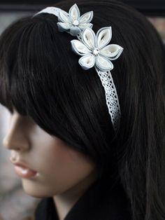 Kanzashi ribbon - headband or choker.