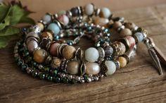 "Set of 3 Boho Chic ""Dusk"" Wrap Bracelets, Bohemian Gypsy Rustic Pearl Feather Tassel Leather Stack Multistrand Bracelets Jewelry Gift ByLEXY"