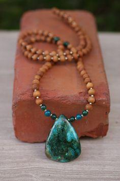 Malachite with Azurite Sandalwood Mala - One of a kind  - Mediation Inspired Yoga Beads