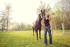 Beautiful senior photo of a girl with her horse