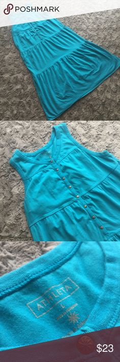 Athleta teal tiered Maxi Dress Beautiful blue teal color tiered Maxi Dress. Has small blemish on hem. Athleta Dresses Maxi