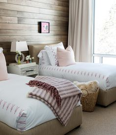 Bedroom with twin beds - pink that's not too sweet. Home Tour: A Modern & Rustic Chalet In Mont Tremblant | House & Home Farmhouse Master Bedroom, Home Bedroom, Girls Bedroom, Bedroom Decor, Bedroom Ideas, Bedroom Designs, Traditional Bedroom, Modern Traditional, Cozy Room