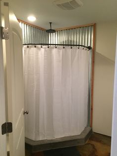 Metal wall concrete pan shower