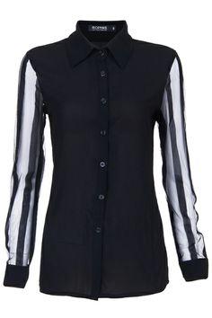 Striped Mesh sleeves Black Shirt$29.99