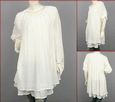 Off-White Long Sleeve Scoop Neck Layered Blouse Tunic Top XXL/2X