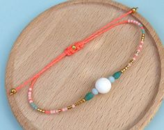 Friendship bracelet - Macrame with miuyki seed beads and white coral - Colors pastel peach, aqua blue, turquoise green, neon coral and gold