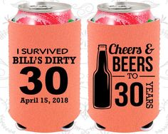 Birthday Neoprene Birthday Cheers and Beers Cheers to 30 Years Dirty 30 Dirty Thirty Neoprene Birthday Can Coolers Husband 30th Birthday, Birthday Cheers, Thirty Birthday, 30 Birthday, Man 30th Birthday Ideas, 30th Party, 30th Birthday Parties, Themed Parties, Party Favors For Adults
