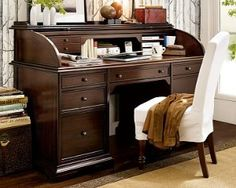 'montego' roll-top desk -- I NEED a roll-top desk for all our our crap, i.e., bills, files, tax stuff, etc. That way I can close the lid and cover the mess.