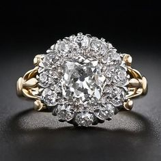 1.35 Carat Center Diamond Antique Cluster Ring - 10-1-5243 - Lang Antiques