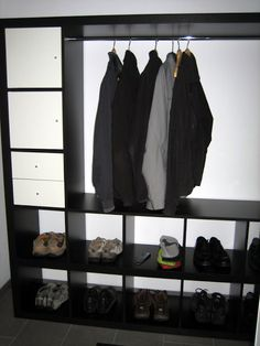 Materials: 1 EXPEDIT TV storage unit, 1 EXPEDIT Shelving unit (1x4), different shelf inserts, clothes railDescription: Inspired by two EXPEDIT Hacks (EXPEDIT wa