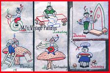 Vintage Gnomes Elves Days of the Week DOW Embroidery Pattern