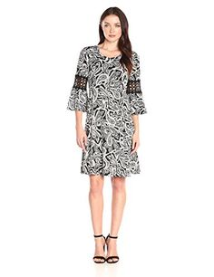 New NY Collection Women's Printed 3/4 Bell Sleeve Scoop-Neck Dress online. Perfect on the Floerns Dresses from top store. Sku cdeo30715umra46240