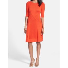 "Vince Camuto A-Line Sweater Dress Regular & Petite Orange Vince Camuto dress.  Chunky ribbing ripples down the raglan-sleeved silhouette of this V-back stretch-knit day dress. 35"" regular length (size Medium); 33 1/2"" petite length (size Medium P). Slips on over head. Elbow-length sleeves. Unlined. 90% acrylic, 9% nylon, 1% spandex. Machine wash cold, dry flat. By Vince Camuto; imported. Vince Camuto Dresses Midi"