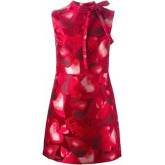 Valentino Heart Print Dress (5,560 CAD) ❤ liked on Polyvore featuring dresses, red, red silk dress, tie dress, red dress, sleeveless dress and valentino dresses