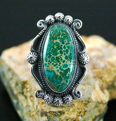 Calvin Martinez Rare Gem Grade Darling Darlene Spiderweb Turquoise Ingot Ring.....Russ is pinning so many beautiful and educational turquoise pieces I can't decide what to pin