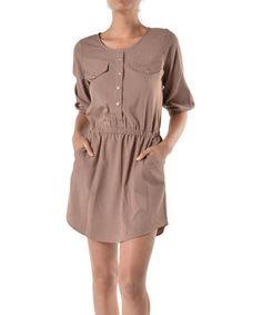 Mocha Roll-Tab Sleeve Button-Front Dress by Lila #zulilyfinds