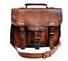 """Amazon.com: 11"""" Men's Genuine Leather Small Briefcase Messenger Satchel Ipad Tab Tablet Bag: Computers & Accessories"""
