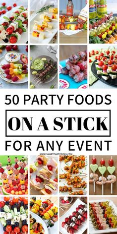Make your food prep a breeze with these delicious and visually sutnning fun food skewers for a party. Hosting a party has never been so easy or delicious. #appetizers #partyfoodideas #foodonastick #foodonastickparty