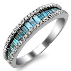 .90ct Blue Baguette & Round Diamond Band Ring 14k White Gold