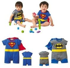 Fashion 4U -Baby / Kleinkind-Kostüm Strampler Superman Batman Supergirl-Outfit mit Umhang (6-12 monate, Superman)