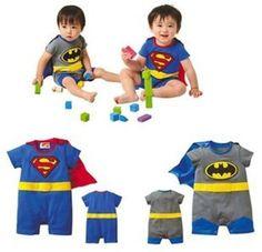 Fashion 4U -Baby / Kleinkind-Kostüm Strampler Superman Batman Supergirl-Outfit mit Umhang (6-12 monate, Superman)