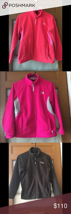 Bundle 3 North face I will pay your shipping Thank you for looking at this bundle of three North Face Brand fleece jackets size 14-16 girls !!   Looking for school items this fall?  These are used jackets not have tons of life left in them and are a wonderful addition to a young ladies closest!  They match up with just about anything and are very comfortable ; keeping you warm but not stifling ! I  have more pictures and happy to text those to you Jackets & Coats