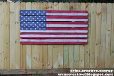 Erins Creative Energy: Fence Picket Flag - great tutorial for all fence art Wood Picket Fence, Pallet Fence, Pallet Art, Pallet Crafts, Diy Pallet, Pallet Ideas, Wood Crafts, Diy Crafts, Stockade Fence