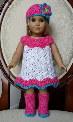 Crocheted American Girl Doll Dress Outfit Clothes Boots Set, No Crochet Pattern CLICK Visit link above for more details Click VISIT above for more options Click above VISIT link for more details by DeeDeeBean American Girl Outfits, American Doll Clothes, Ag Doll Clothes, Doll Clothes Patterns, American Girls, Doll Patterns, Crochet Patterns, Dress Patterns, Crochet Doll Dress
