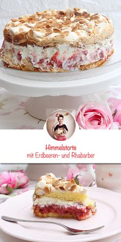 Heaven cake with strawberries and rhubarb – Obstkuchen Bolo Fondant, Strawberry Cakes, Food Cakes, Food Items, Vanilla Cake, Cake Recipes, Cheesecake, Food And Drink, Cupcakes