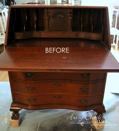 Secretary Desk Makeover w/ Duck Egg Blue & 3 Colored Waxes (Chalk Paint® by Annie Sloan) - Artsy Chicks Rule® Furniture Update, Refurbished Furniture, Paint Furniture, Repurposed Furniture, Furniture Makeover, Furniture Refinishing, Furniture Ideas, Furniture Design, Painted Secretary Desks
