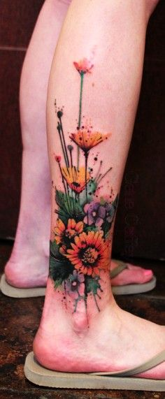 watercolor flower half sleeve tattoo - butterfly, upper arm | DIY Watercolor Tattoo