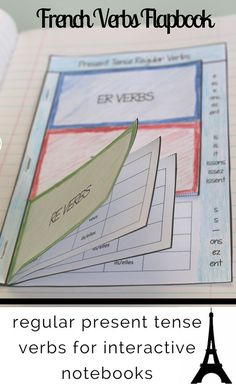 Give your students an organized, at-a-glance reference section for recording regular present tense French verbs. This flapbook is designed for er, ir, and re verbs. I love using flapbooks like these in interactive notebooks to make conjugations a bit French Verbs, French Grammar, French Tenses, French Teaching Resources, Teaching French, Teaching Spanish, How To Speak French, Learn French, Teaching Verbs