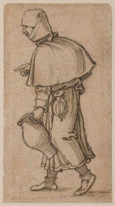 Sebald Beham 1500 - 1550,  Крестьянская женщина, несущая кувшин 1520 10.6 x 5.9 cm  резцовая гравюра 106x59 мм. #Beham #engaving #гравюра