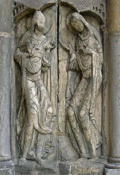 Portada de la iglesia de Moissac (Francia) -Escultura románica francesa. Visitación.