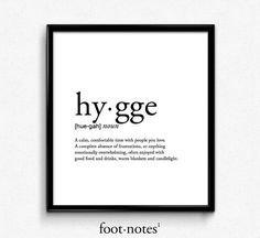 Hygge definition romantic dictionary art print office